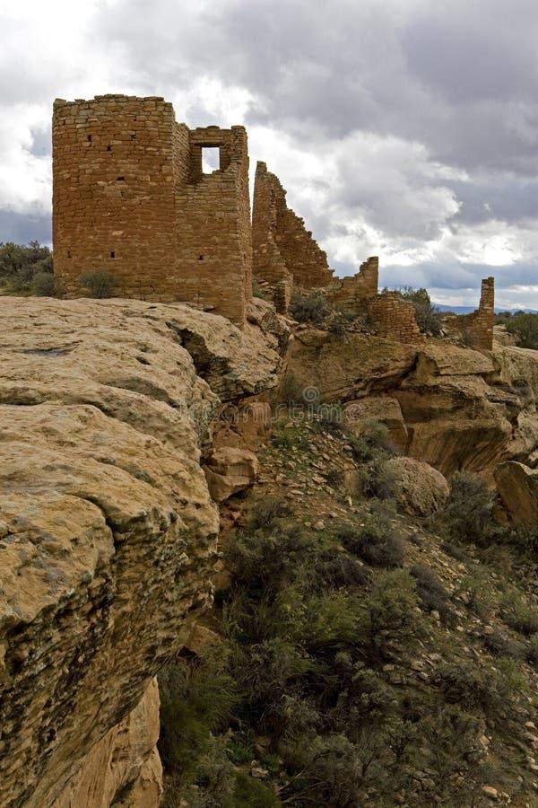 Cliffsideruïnes bij het Nationale Monument van Hovenweep stock afbeeldingen