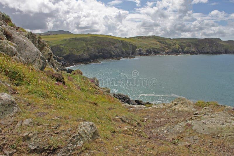 从clifftop, Pembrokeshire的海景 免版税库存照片
