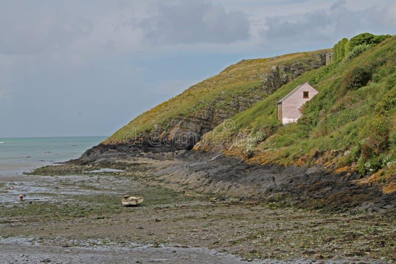 从clifftop, Pembrokeshire的海景 免版税库存图片