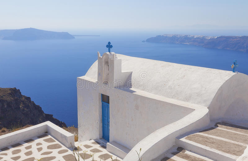 Clifftop church in Imerovigli stock images