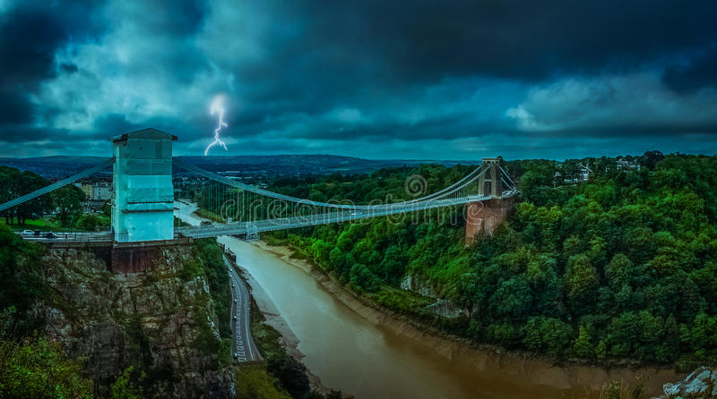 Clifton Bridge during storm stock images