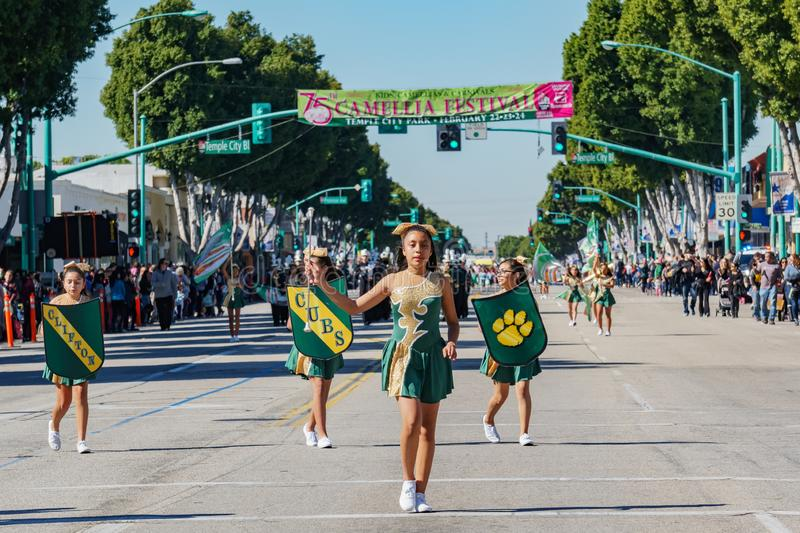 Clifton middle school Marching band parade in the Camellia Festival. Los Angeles, FEB 23: Clifton middle school Marching band parade in the Camellia Festival on stock photos