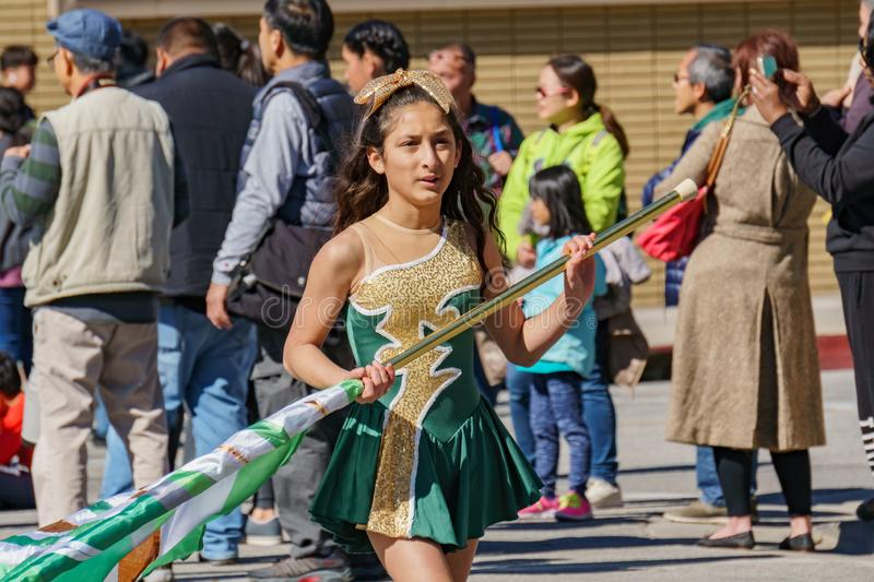 Clifton middle school Marching band parade in the Camellia Festival. Los Angeles, FEB 23: Clifton middle school Marching band parade in the Camellia Festival on royalty free stock photo