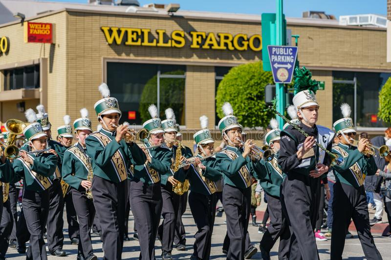 Clifton middle school Marching band parade in the Camellia Festival. Los Angeles, FEB 23: Clifton middle school Marching band parade in the Camellia Festival on stock images