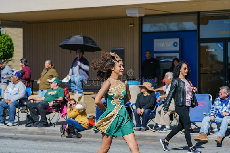 Clifton middle school Marching band parade in the Camellia Festival. Los Angeles, FEB 23: Clifton middle school Marching band parade in the Camellia Festival on royalty free stock photos