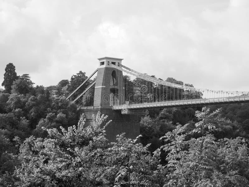 Clifton Suspension Bridge in Bristol in zwart-wit royalty-vrije stock foto's