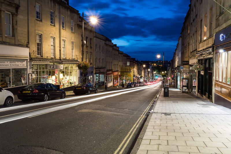 Clifton, view from the top of Park Street by night. ENGLAND, BRISTOL - 13 SEP 2015: Clifton, view from the top of Park Street by night, early morning photography stock photo