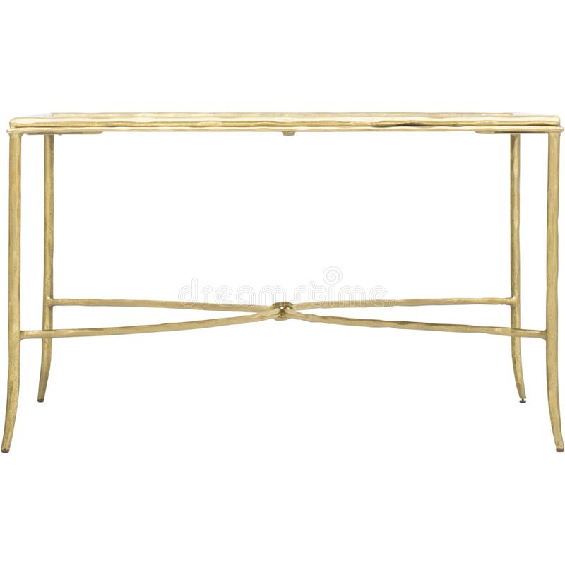 Clifton Writing Desk, Gold/White, Mirrored TV Stand Console Table with Drawer, Two-Drawer Writing Desk with white background royalty free stock image
