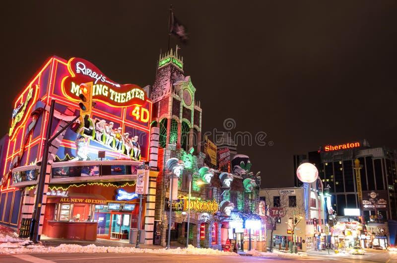 Clifton wzgórza życie nocne, Niagara spadki zdjęcie royalty free
