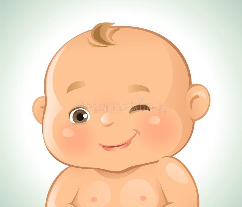 Cligner de l'oeil d'émotions de bébé illustration de vecteur