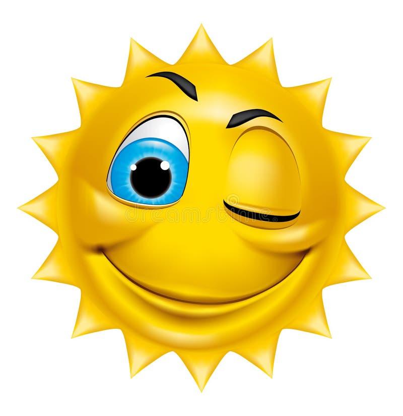 Cligner de l'oeil de caractère de Sun illustration de vecteur