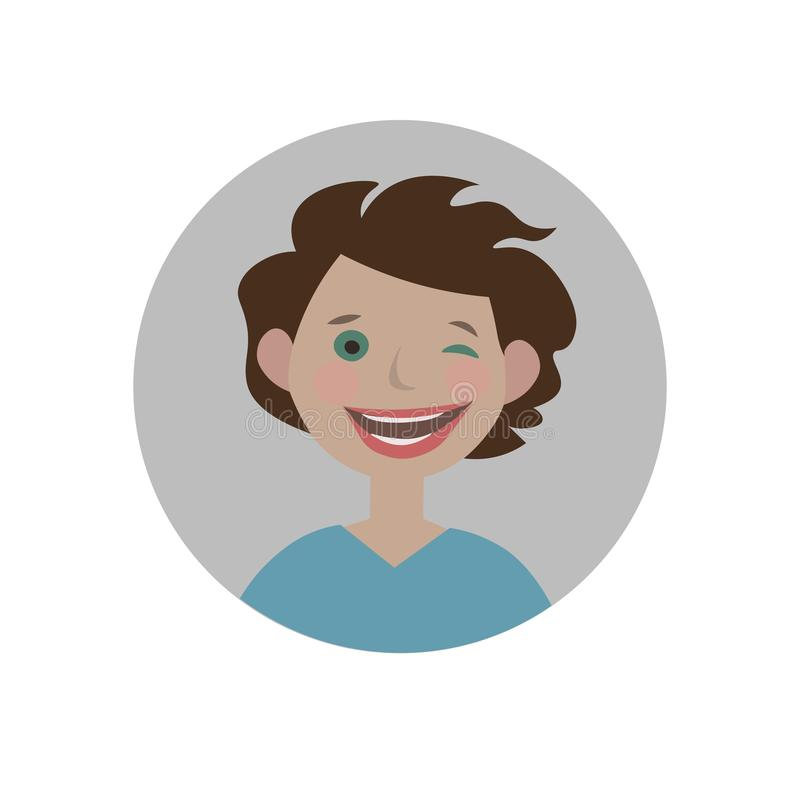 Cligner de l'oeil l'emoji Émoticône espiègle Smiley de indication Exspression de flirt illustration stock