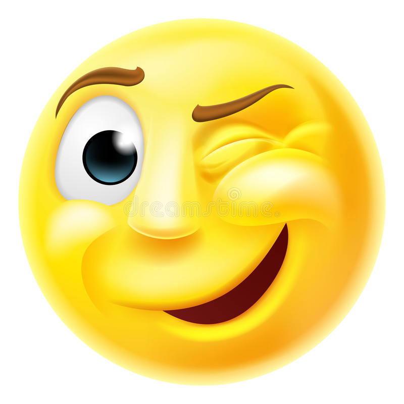 Cligner de l'oeil l'émoticône d'Emoji illustration stock