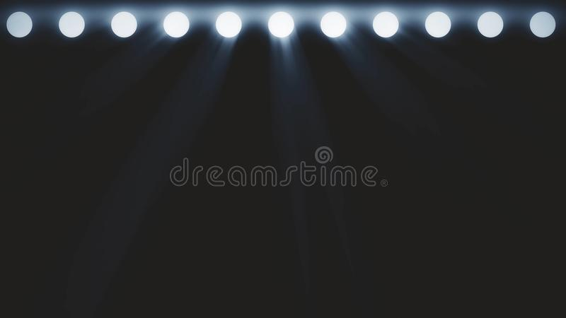 Clignotant lumineux de lumières d'étape Étape gratuite avec des lumières Fond d'éclairage d'étape Lumière de concert Projecteur d illustration libre de droits