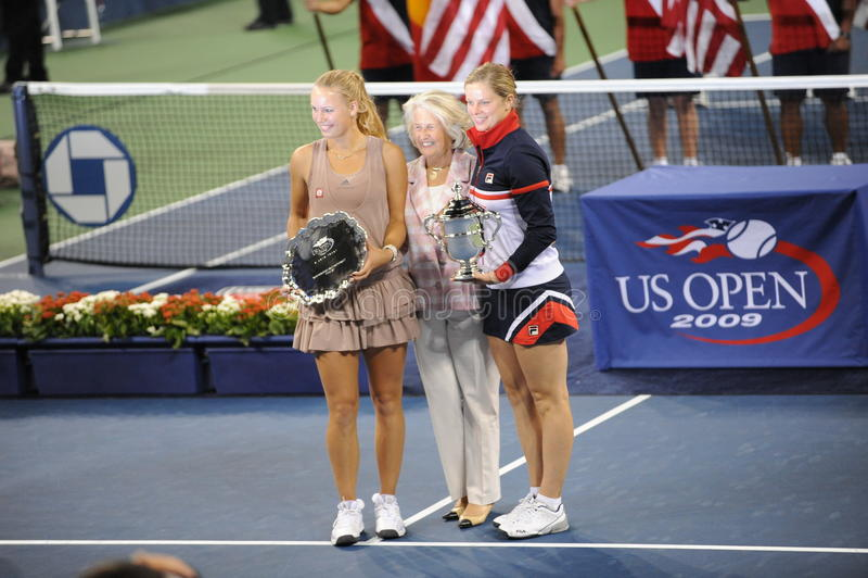 Clijsters und Wozniacki Sieger US öffnen 2009 lizenzfreie stockfotos