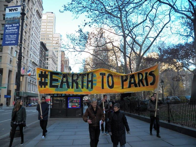 Clima global marzo y Reunión-nueva ciudad de York, NY LOS E.E.U.U. fotos de archivo