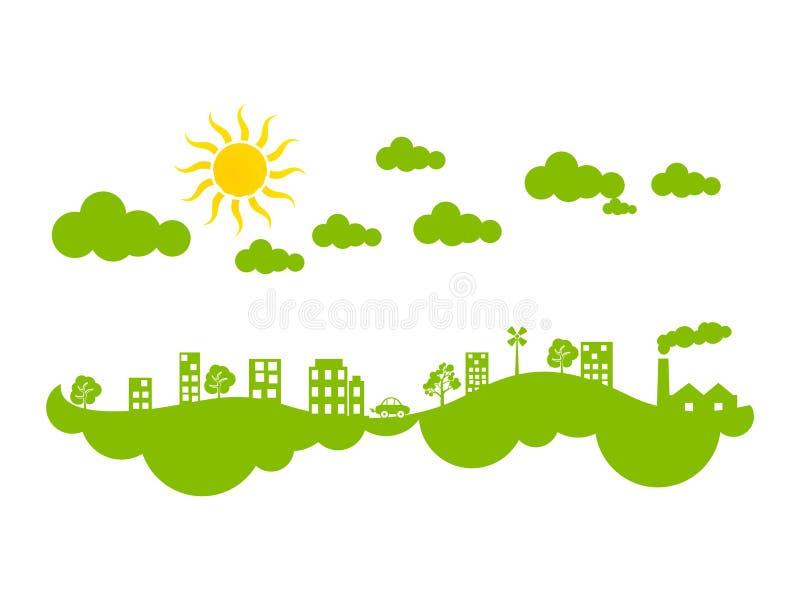 Clima verde creativo abstrato da cidade do eco ilustração do vetor