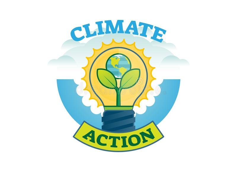 Climate action, climate change movement vector logo badge stock illustration