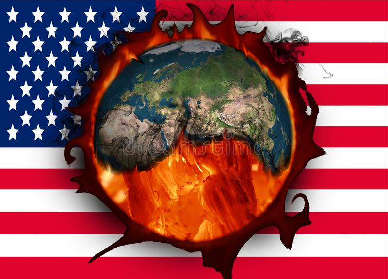 Climate change and American flag. USA and global warming stock illustration
