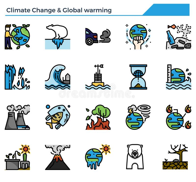 Free Climate Change And Global Warming Icon Set. Royalty Free Stock Photos - 164291988