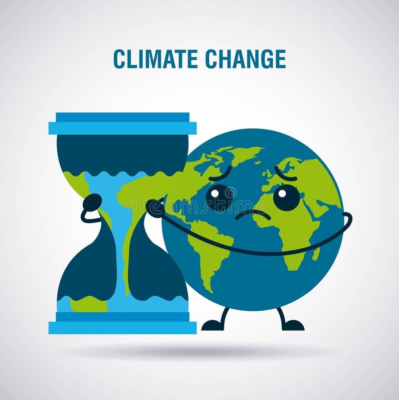 Climate change cartoon sad planet earth hourglass time stock illustration