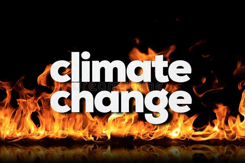 Climate Change Concept on Fire. Climate change on fire background royalty free stock images