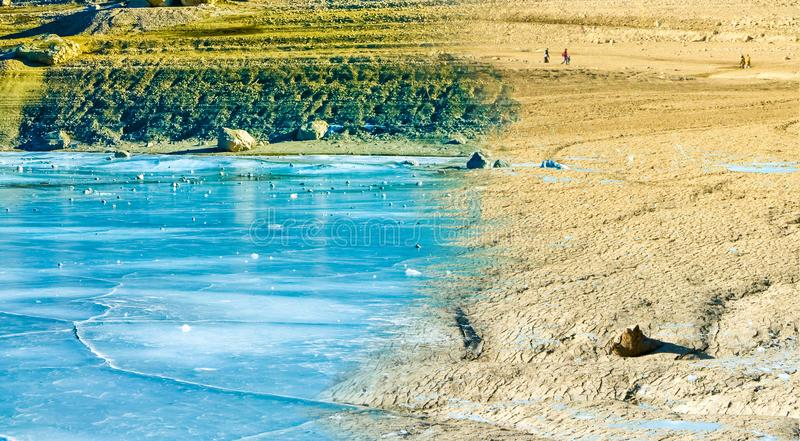 Climate change concept, frozen water lake overtaken by ice vector illustration