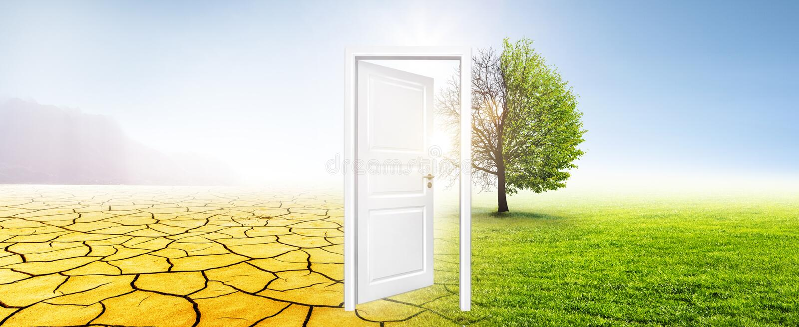 Climate change from desert tor green meadow. With an open white door royalty free stock photos