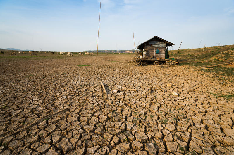 Climate change global warming danger. Dry land in danger from climate change from global warming royalty free stock images