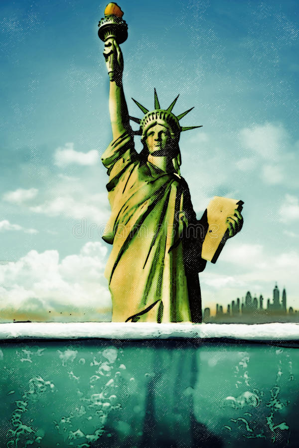 Climate Change and Liberty vector illustration