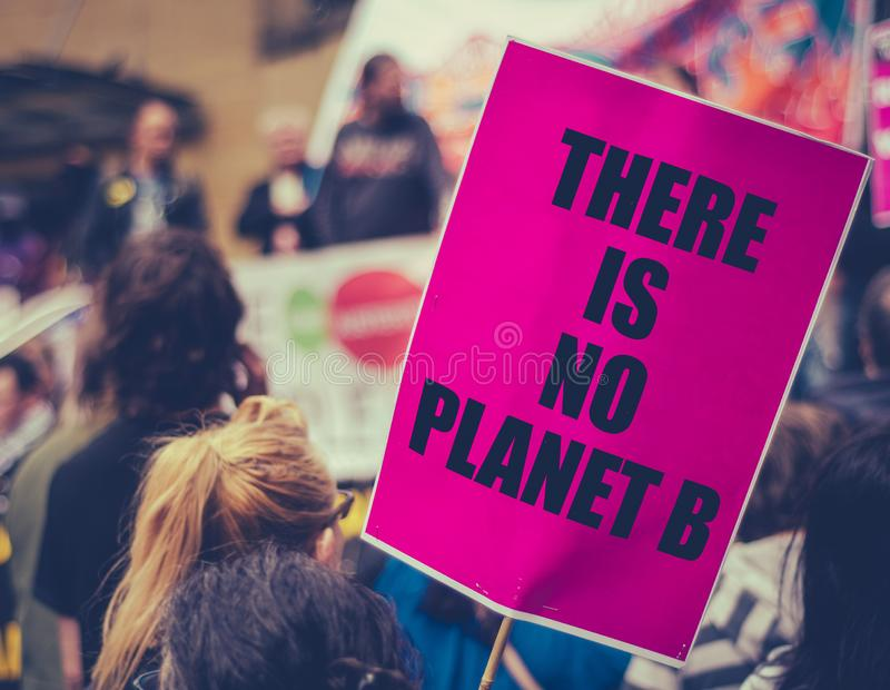 Climate Change March Sign. There Is No Planet B Placard At An Extinction Rebellion Climate Change March stock photography