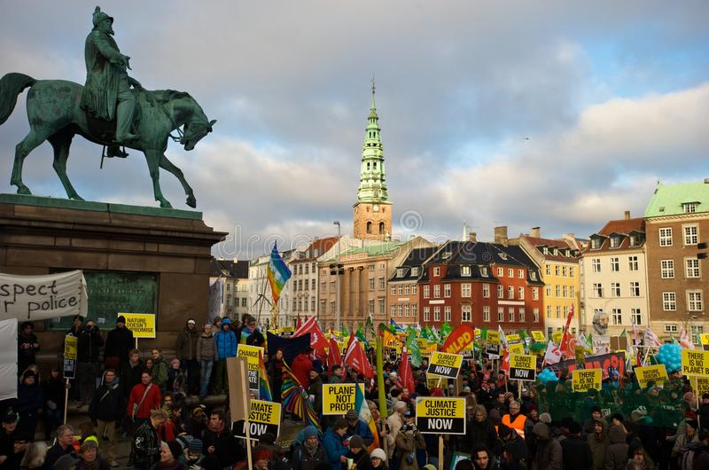 Climate Change Protest. A large climate change protest in Copenhagen during the COP15 Climate Change Summit stock image