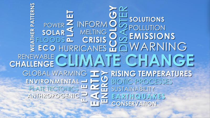 Climate Change related animated text word cloud. Against blue sky with light clouds timelapse stock photo