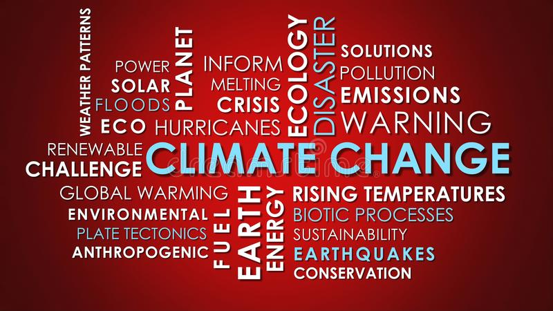 Climate Change related animated text word cloud. On red background stock photography