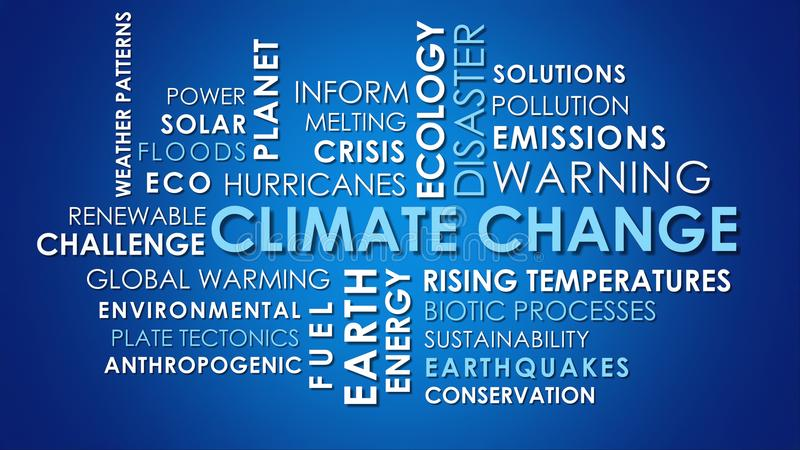 Climate Change related animated text word cloud. Dark blue background stock photography