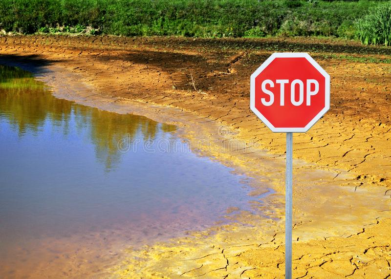 Climate change. Stop climate change concept of drying lake and landscape destruction by change of weather stock photos