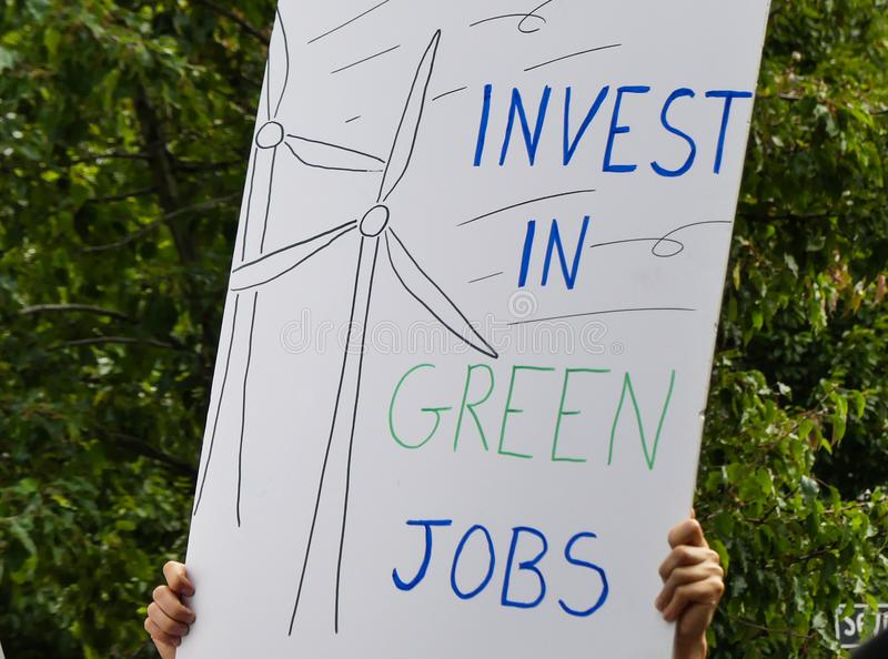 Invest in green jobs banner climate change royalty free stock image