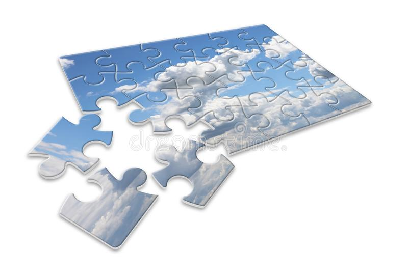 Climate changes; concept image with a cloudy sky in puzzle shape royalty free stock photography