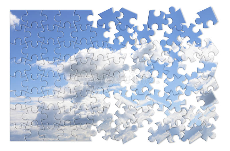 Climate changes concept image with a cloudy sky in puzzle shape stock images