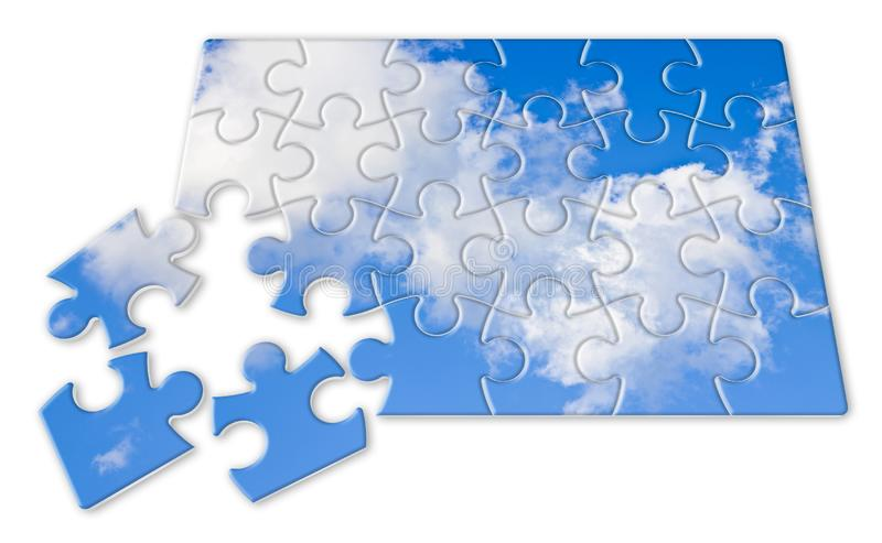 Climate changes concept image with a cloudy sky in puzzle shape stock image