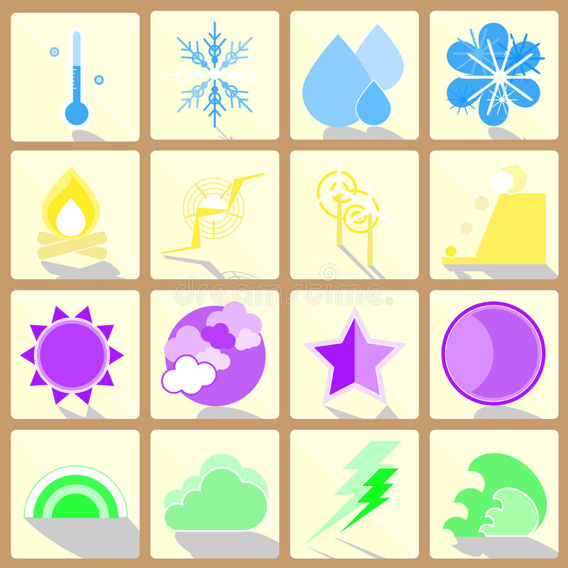 Download Climate Color Icons On Button Stock Vector - Image: 35613783