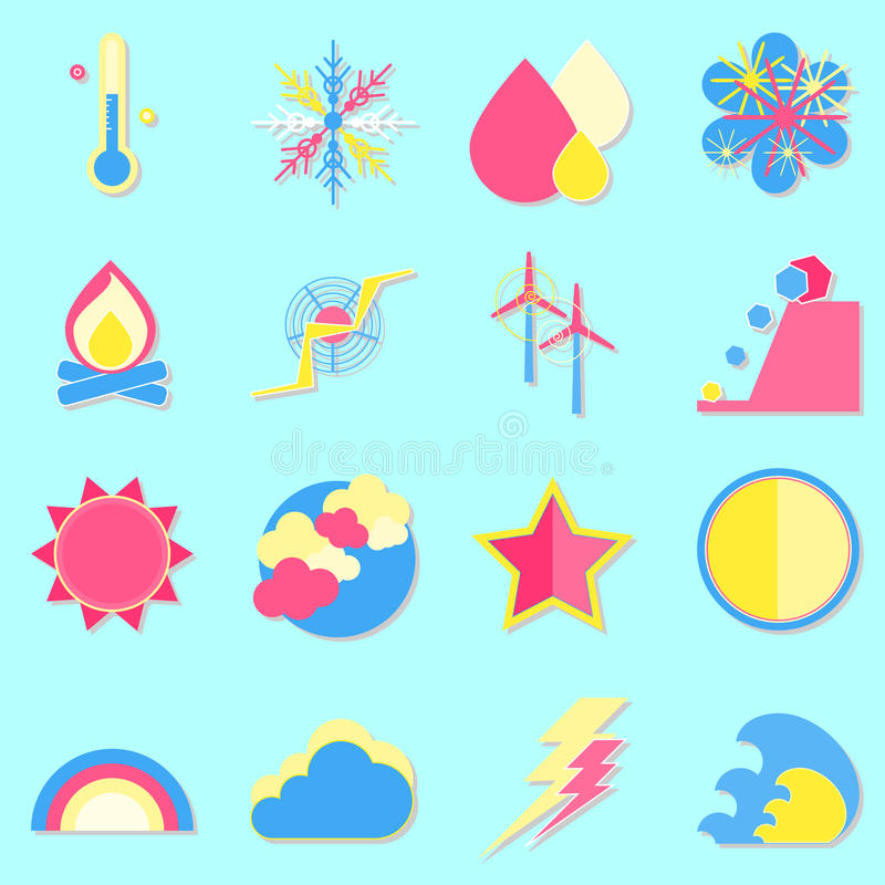 Download Climate Color Icons With Shadow Stock Vector - Image: 35613757