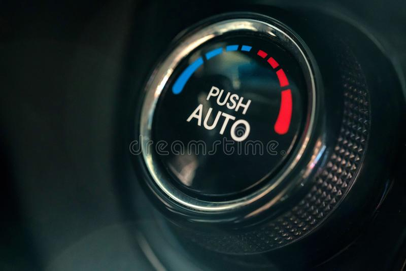 Climate control unit in the new car close stock photos