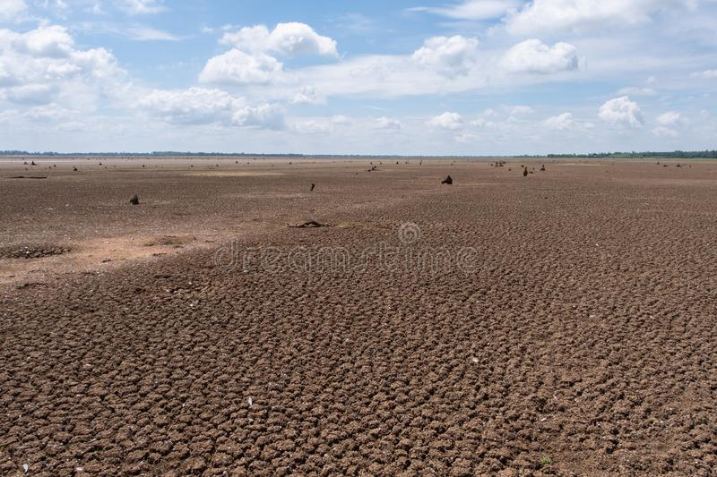 Climate drought, Terrain cracked soil in hot weather.  stock photography