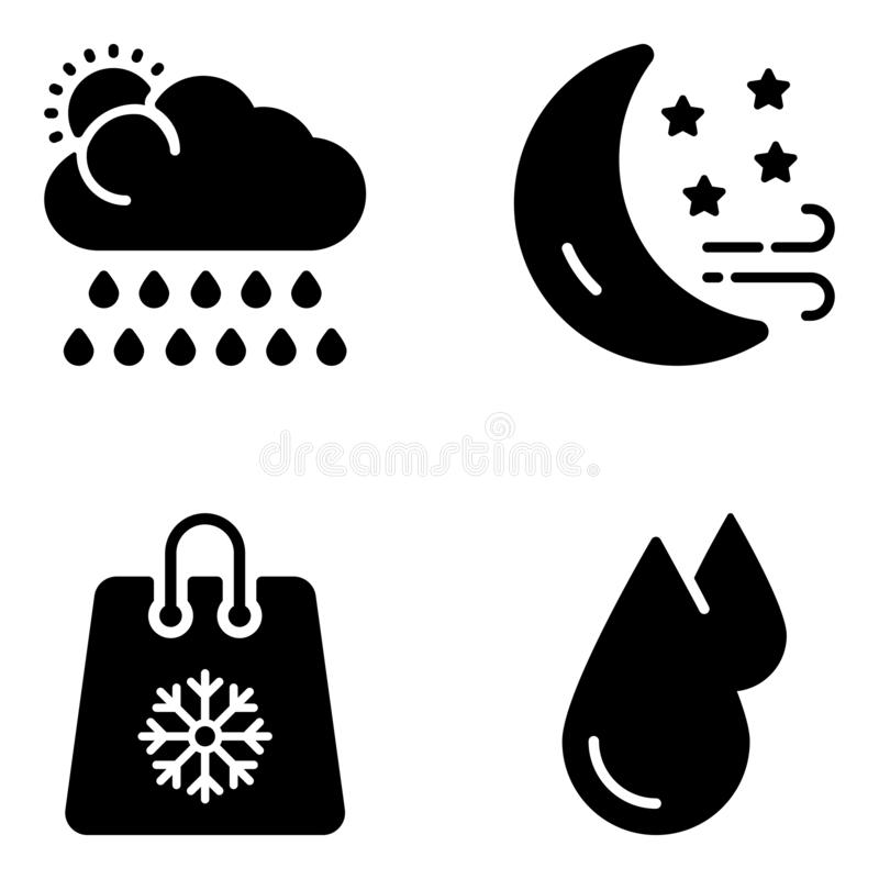 Climate Forecasting Glyph Vectors. Have a look at this climate forecasting glyph vectors pack that is modifiable to be use in your related projects. Grab it now vector illustration