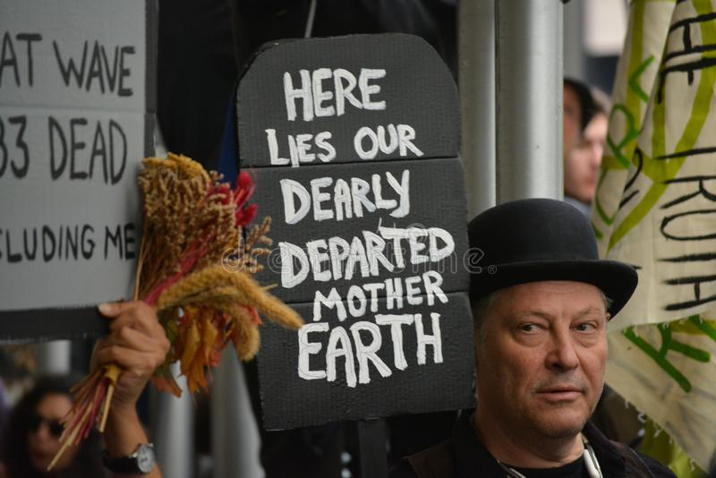 Climate protester in New York City. royalty free stock images