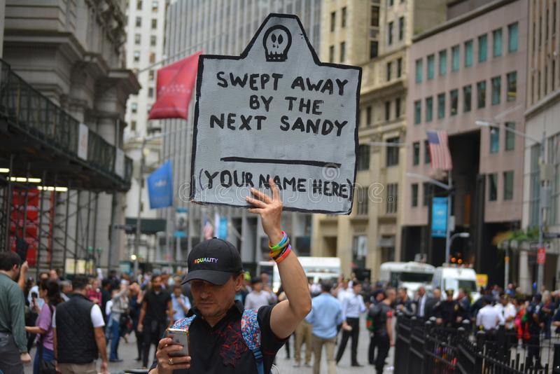 Climate protester in New York City. stock image