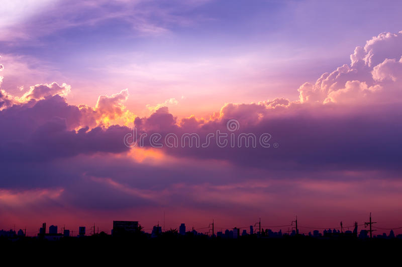 climate sunset sky with fluffy clouds and beautiful heavy weather landscape for use as background images stock photos
