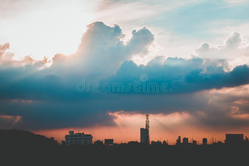 climate sunset sky with fluffy clouds and beautiful heavy weather landscape for use as background images royalty free stock image