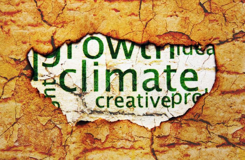 Climate text on paper hole stock images